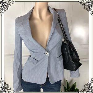 Zara Basic Blue & White Striped Blazer Size Small